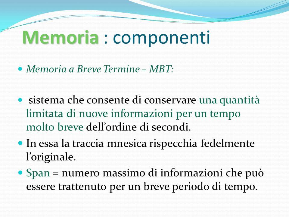 Memoria Memoria : componenti Memoria a Breve Termine – MBT: sistema che consente di conservare una quantità limitata di nuove informazioni per un temp