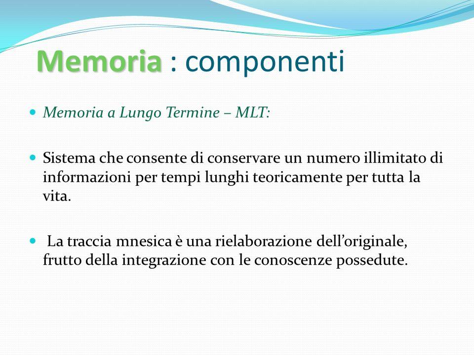 Memoria Memoria : componenti Memoria a Lungo Termine – MLT: Sistema che consente di conservare un numero illimitato di informazioni per tempi lunghi t