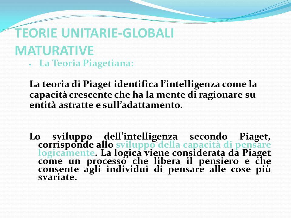 TEORIE UNITARIE-GLOBALI MATURATIVE La Teoria Piagetiana: La teoria di Piaget identifica lintelligenza come la capacità crescente che ha la mente di ra