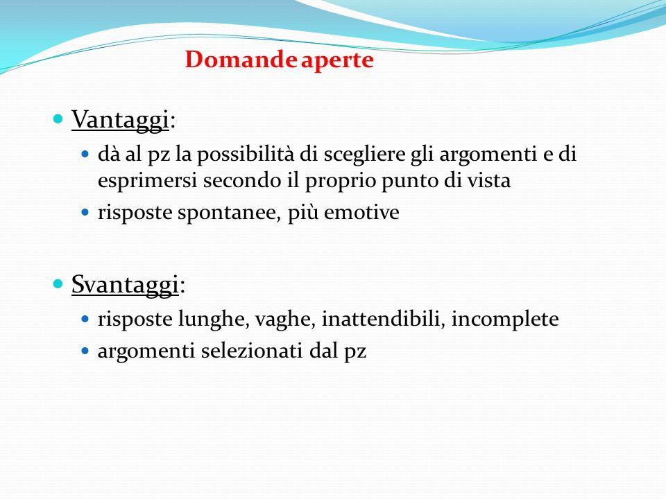 Domande aperte Vantaggi: dà al pz la possibilità di scegliere gli argomenti e di esprimersi secondo il proprio punto di vista risposte spontanee, più