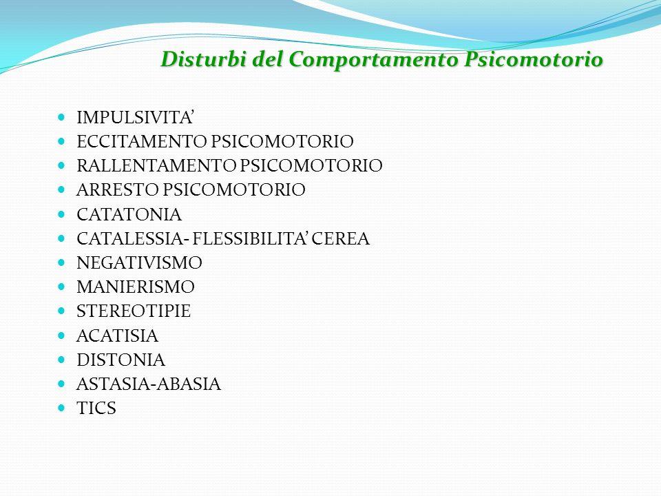 IMPULSIVITA ECCITAMENTO PSICOMOTORIO RALLENTAMENTO PSICOMOTORIO ARRESTO PSICOMOTORIO CATATONIA CATALESSIA- FLESSIBILITA CEREA NEGATIVISMO MANIERISMO S