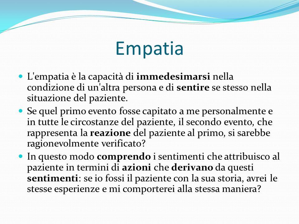 Empatia L'empatia è la capacità di immedesimarsi nella condizione di un'altra persona e di sentire se stesso nella situazione del paziente. Se quel pr