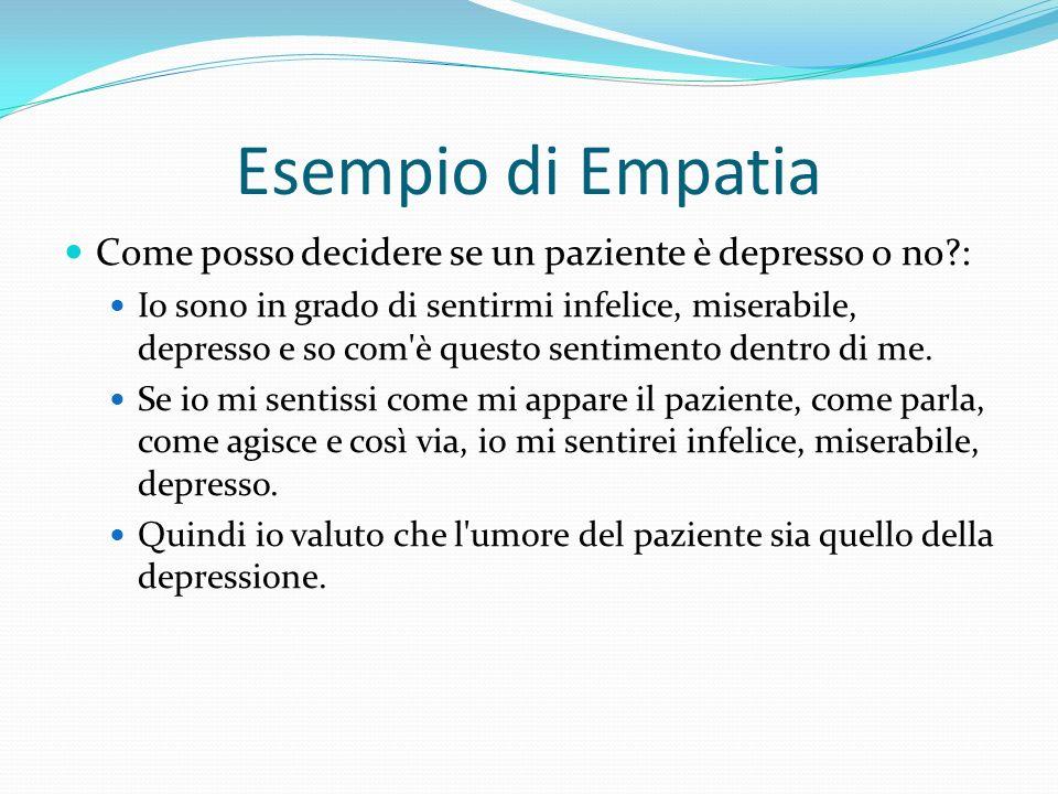 Esempio di Empatia Come posso decidere se un paziente è depresso o no?: Io sono in grado di sentirmi infelice, miserabile, depresso e so com'è questo