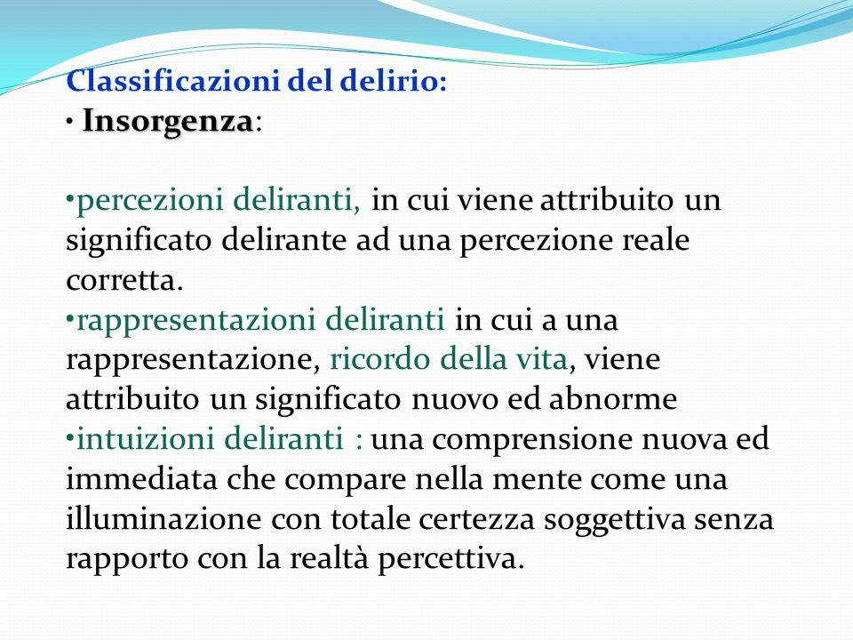 Classificazioni del delirio: Insorgenza Insorgenza: percezioni deliranti, in cui viene attribuito un significato delirante ad una percezione reale cor