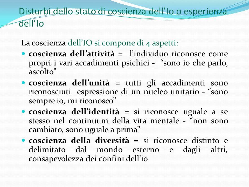 Disturbi dello stato di coscienza dellIo o esperienza dellIo La coscienza dellIO si compone di 4 aspetti: coscienza dellattività = lindividuo riconosc