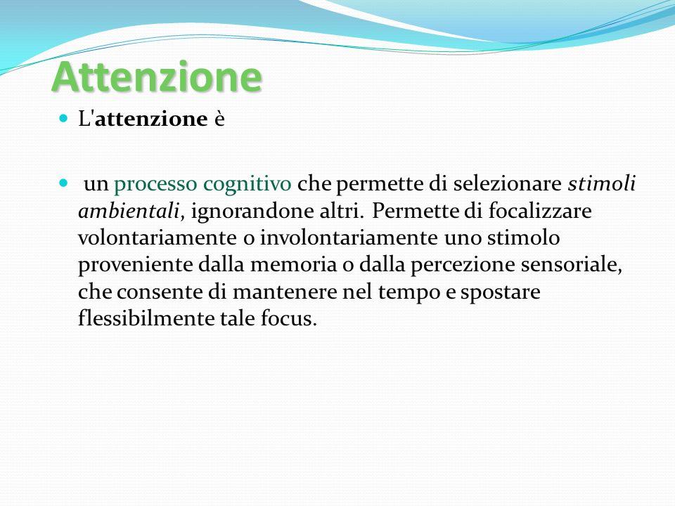 Attenzione L'attenzione è un processo cognitivo che permette di selezionare stimoli ambientali, ignorandone altri. Permette di focalizzare volontariam