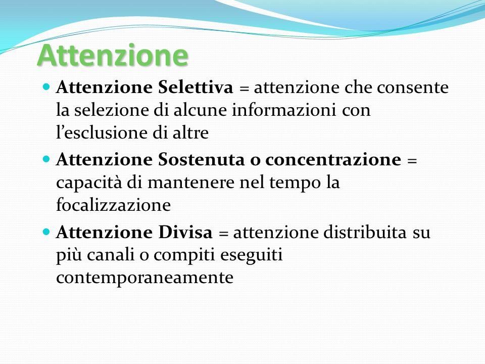 Attenzione Attenzione Selettiva = attenzione che consente la selezione di alcune informazioni con lesclusione di altre Attenzione Sostenuta o concentr