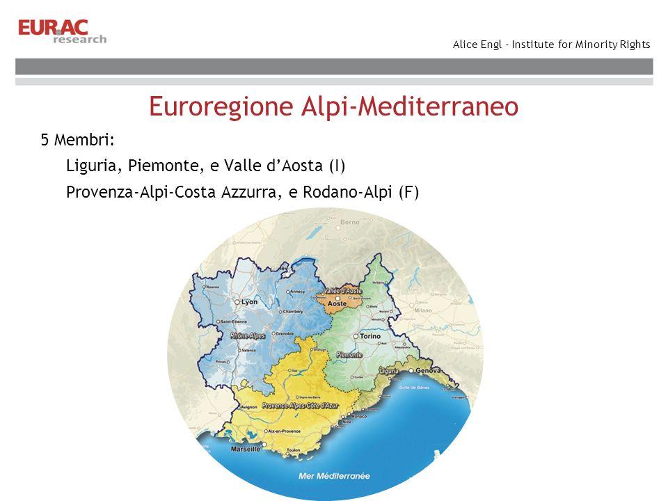 Alice Engl - Institute for Minority Rights Euroregione Alpi-Mediterraneo Obiettivi: Rafforzare i legami politici, economici, sociali e culturali Agire a favore dello sviluppo del territorio dellEuroregione Favorire una maggiore concertazione nella partecipazione comune ai programmi dellUnione Europea.
