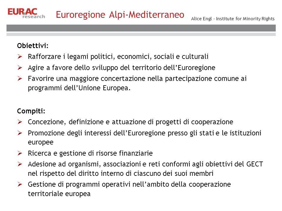 Alice Engl - Institute for Minority Rights Euroregione Alpi-Mediterraneo Obiettivi: Rafforzare i legami politici, economici, sociali e culturali Agire