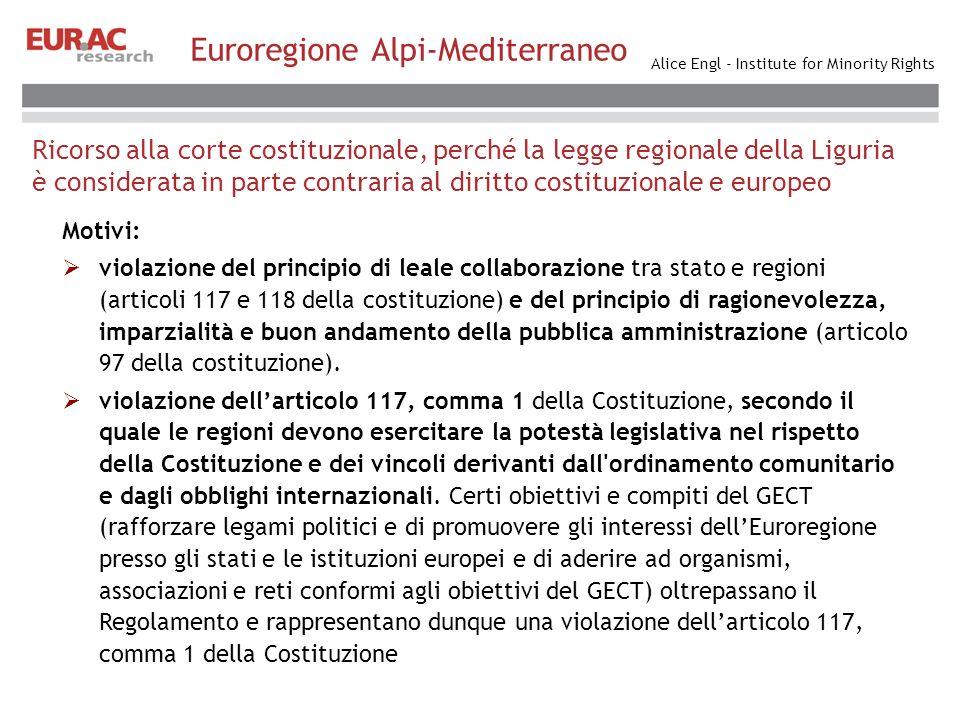 Alice Engl - Institute for Minority Rights Ricorso alla corte costituzionale, perché la legge regionale della Liguria è considerata in parte contraria