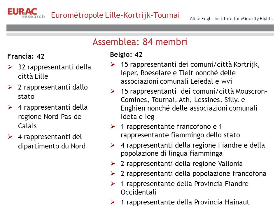 Alice Engl - Institute for Minority Rights Eurométropole Lille-Kortrijk-Tournai Assemblea: 84 membri Francia: 42 32 rappresentanti della città Lille 2 rappresentanti dallo stato 4 rappresentanti della regione Nord–Pas-de- Calais 4 rappresentanti del dipartimento du Nord Belgio: 42 15 rappresentanti dei comuni/città Kortrijk, Ieper, Roeselare e Tielt nonché delle associazioni comunali Leiedal e wvi 15 rappresentanti dei comuni/città Mouscron- Comines, Tournai, Ath, Lessines, Silly, e Enghien nonché delle associazioni comunali Ideta e Ieg 1 rappresentante francofono e 1 rappresentante fiammingo dello stato 4 rappresentanti della regione Fiandre e della popolazione di lingua fiamminga 2 rappresentanti della regione Vallonia 2 rappresentanti della popolazione francofona 1 rappresentante della Provincia Fiandre Occidentali 1 rappresentante della Provincia Hainaut