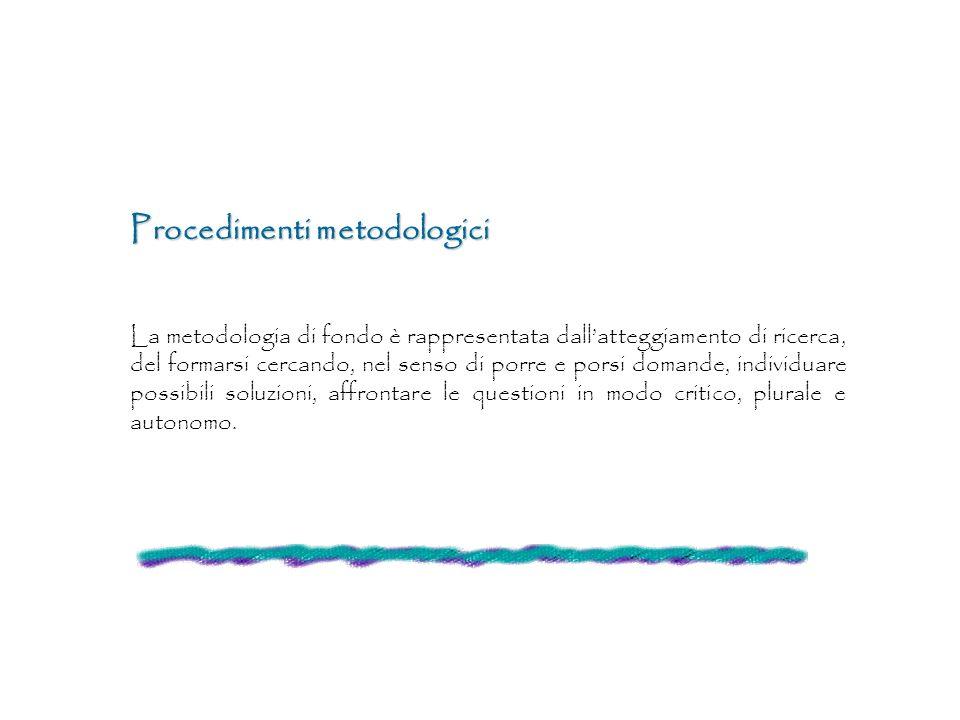 Procedimenti metodologici La metodologia di fondo è rappresentata dallatteggiamento di ricerca, del formarsi cercando, nel senso di porre e porsi doma