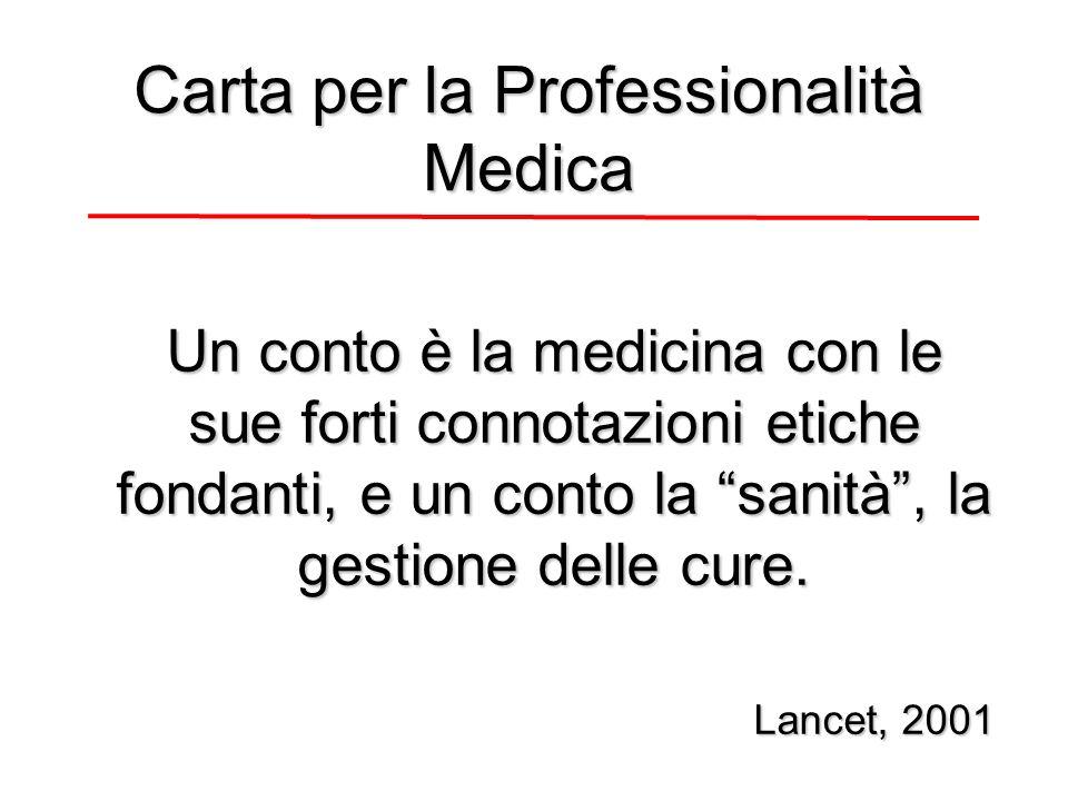 Un conto è la medicina con le sue forti connotazioni etiche fondanti, e un conto la sanità, la gestione delle cure.