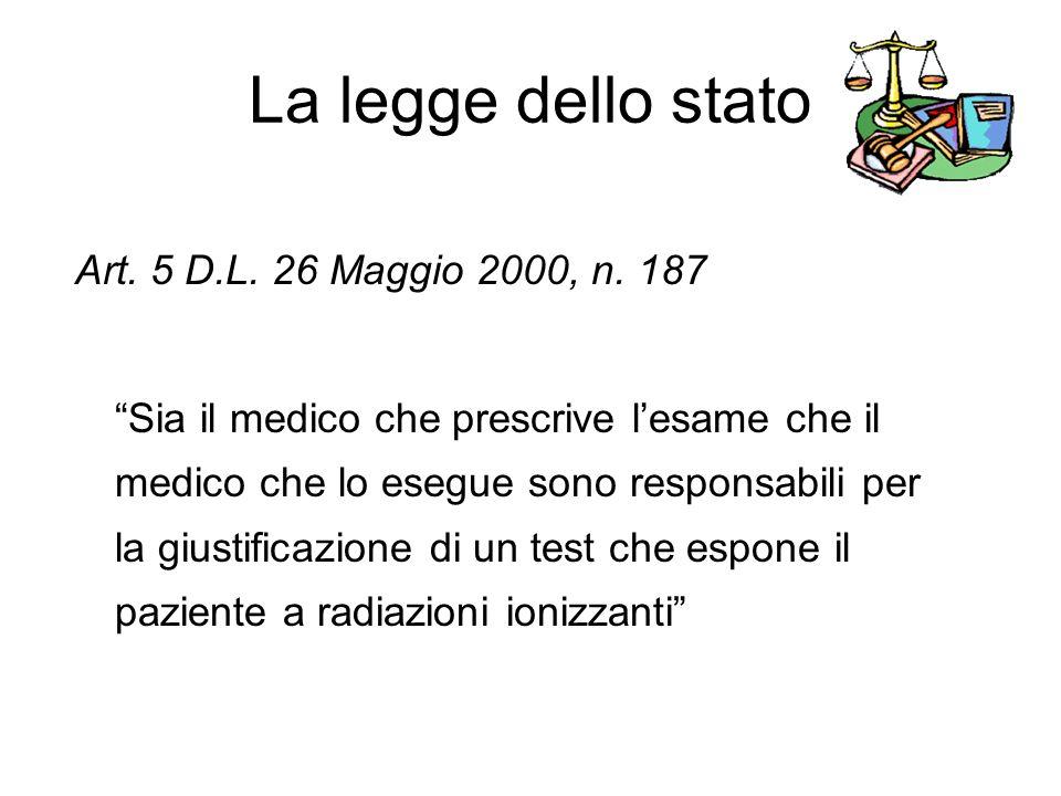 La legge dello stato Art.5 D.L. 26 Maggio 2000, n.