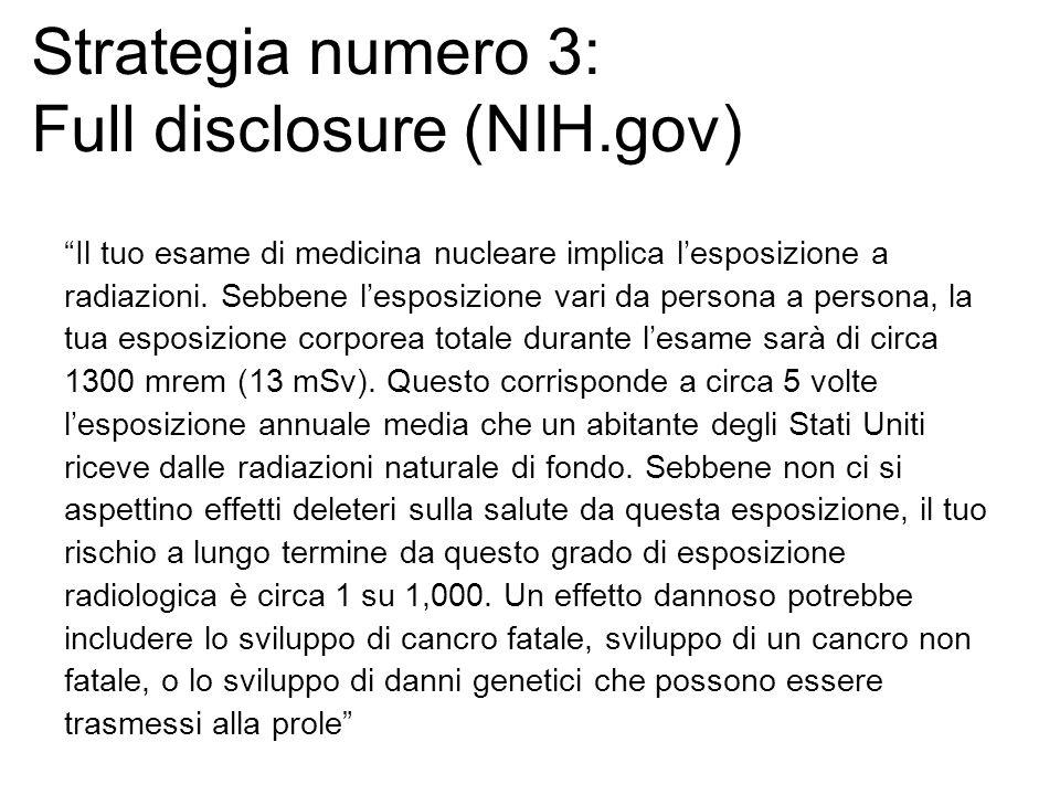 Strategia numero 3: Full disclosure (NIH.gov) Il tuo esame di medicina nucleare implica lesposizione a radiazioni.