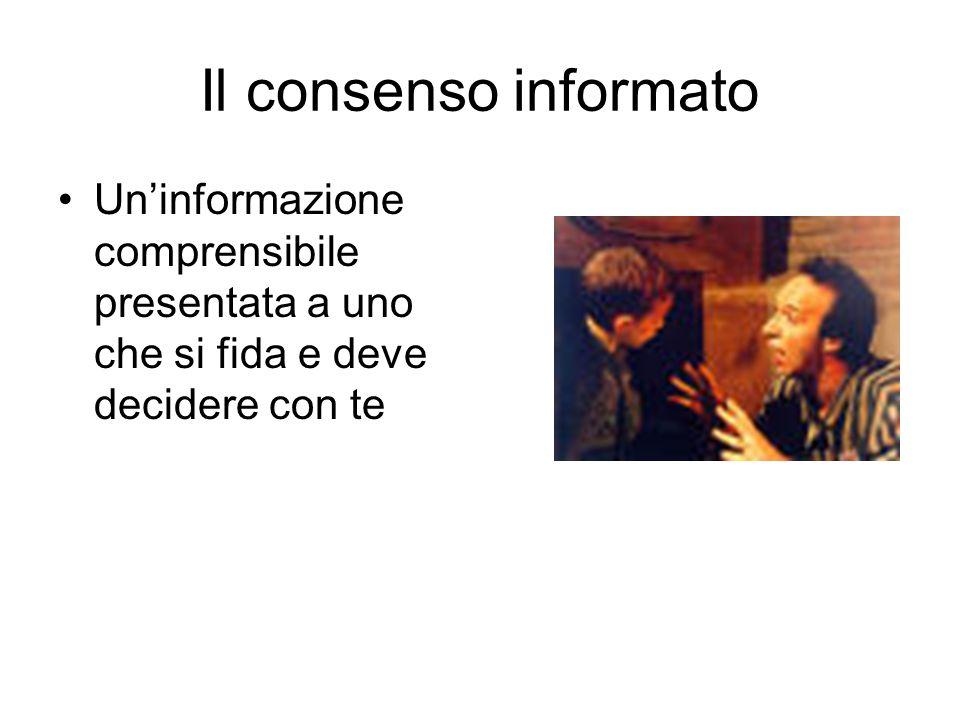 Il consenso informato Uninformazione comprensibile presentata a uno che si fida e deve decidere con te