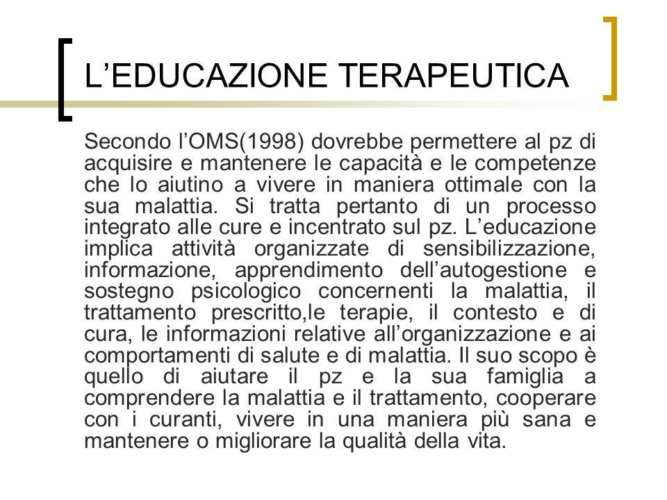LEDUCAZIONE TERAPEUTICA Secondo lOMS(1998) dovrebbe permettere al pz di acquisire e mantenere le capacità e le competenze che lo aiutino a vivere in m