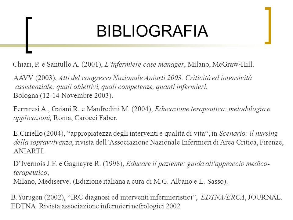 BIBLIOGRAFIA Chiari, P. e Santullo A. (2001), Linfermiere case manager, Milano, McGraw-Hill. AAVV (2003), Atti del congresso Nazionale Aniarti 2003. C