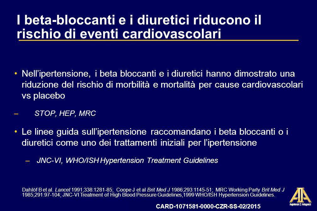 09-12-CZR-2009-IT-3199-SS Data deposito AIFA 13 ottobre 2009 LIFE: Sommario La terapia antipertensiva basata su losartan ha determinato un beneficio superiore complessivo su morbilità e mortalità per cause cardiovascolari vs atenololo: –Superiore riduzione del rischio per lendpoint primario composito (decesso CV, ictus, e IM) del 13% (p=0,021)* –Superiore riduzione del rischio di ictus del 25% (p=0,001) Losartan e latenololo hanno determinato una sostanziale e comparabile efficacia nella riduzione della pressione arteriosa Losartan è stato meglio tollerato, con un numero significativamente inferiore di interruzioni del trattamento dovute ad eventi indesiderati *Nessuna differenza significativa per decesso cardiovascolare e IM vs atenololo CARD-1071581-0000-CZR-SS-02/2015
