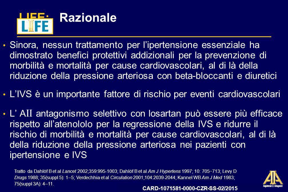 09-12-CZR-2009-IT-3199-SS Data deposito AIFA 13 ottobre 2009 Ipotesi Losartan ridurrà lincidenza dellendpoint primario composito dato da morbilità e mortalità per cause cardiovascolari, definita come ictus, IM o decesso per cause cardiovascolari, in maggior misura rispetto allatenololo in pazienti con ipertensione essenziale ed IVS Dahlöf B et al Am J Hypertens 1997; 10: 705 713.