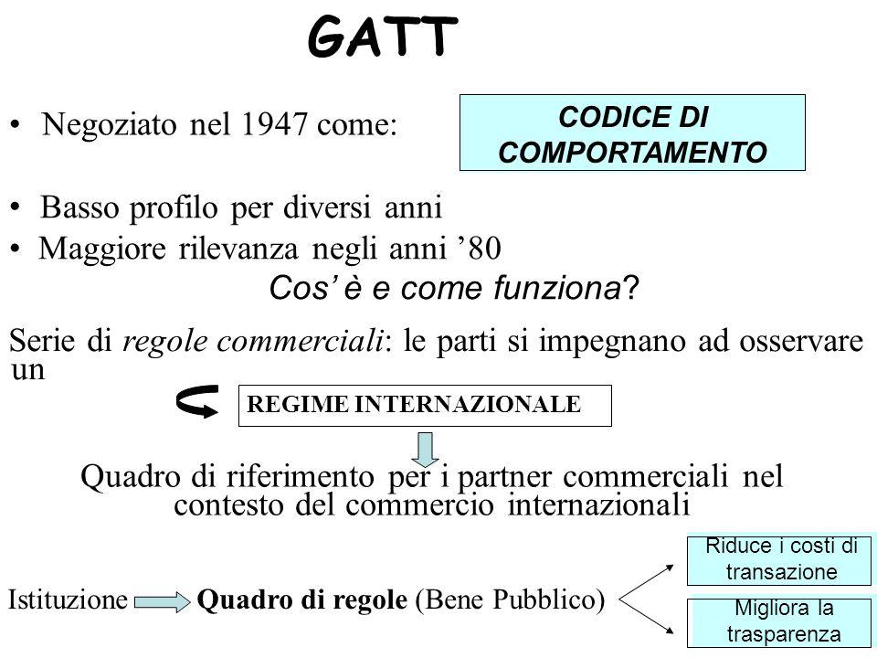 GATT Negoziato nel 1947 come: CODICE DI COMPORTAMENTO Basso profilo per diversi anni Maggiore rilevanza negli anni 80 Cos è e come funziona.