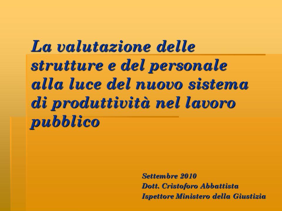 La valutazione delle strutture e del personale alla luce del nuovo sistema di produttività nel lavoro pubblico Settembre 2010 Dott. Cristoforo Abbatti