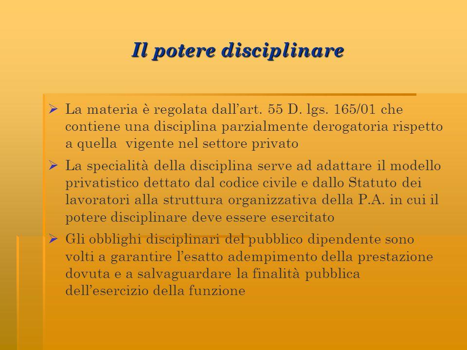 Il potere disciplinare La materia è regolata dallart. 55 D. lgs. 165/01 che contiene una disciplina parzialmente derogatoria rispetto a quella vigente