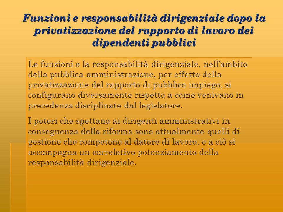 Funzioni e responsabilità dirigenziale dopo la privatizzazione del rapporto di lavoro dei dipendenti pubblici Le funzioni e la responsabilità dirigenz