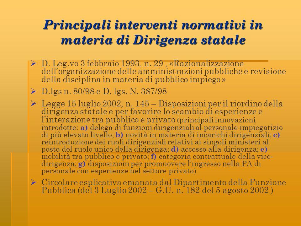 Principali interventi normativi in materia di Dirigenza statale D. Leg.vo 3 febbraio 1993, n. 29, «Razionalizzazione dellorganizzazione delle amminist
