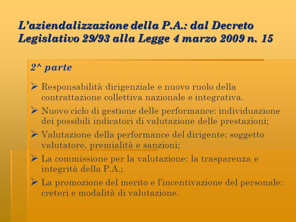Laziendalizzazione della P.A.: dal Decreto Legislativo 29/93 alla Legge 4 marzo 2009 n. 15 2^ parte Responsabilità dirigenziale e nuovo ruolo della co