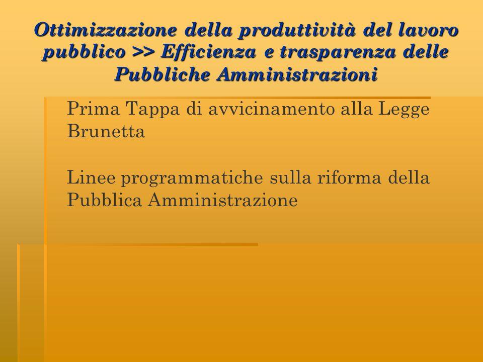 Ottimizzazione della produttività del lavoro pubblico >> Efficienza e trasparenza delle Pubbliche Amministrazioni Prima Tappa di avvicinamento alla Legge Brunetta Linee programmatiche sulla riforma della Pubblica Amministrazione