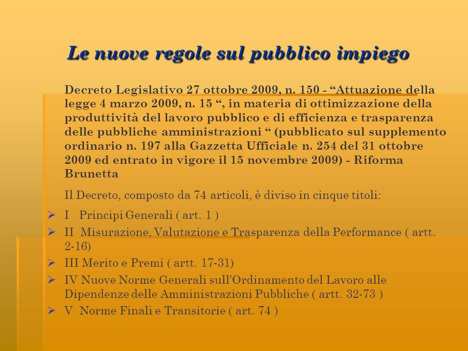 Le nuove regole sul pubblico impiego Decreto Legislativo 27 ottobre 2009, n. 150 - Attuazione della legge 4 marzo 2009, n. 15, in materia di ottimizza