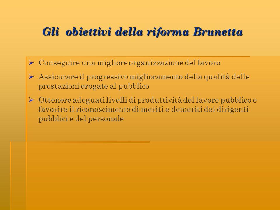 Gli obiettivi della riforma Brunetta Conseguire una migliore organizzazione del lavoro Assicurare il progressivo miglioramento della qualità delle pre