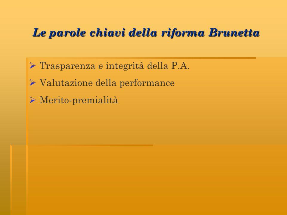 Le parole chiavi della riforma Brunetta Trasparenza e integrità della P.A. Valutazione della performance Merito-premialità