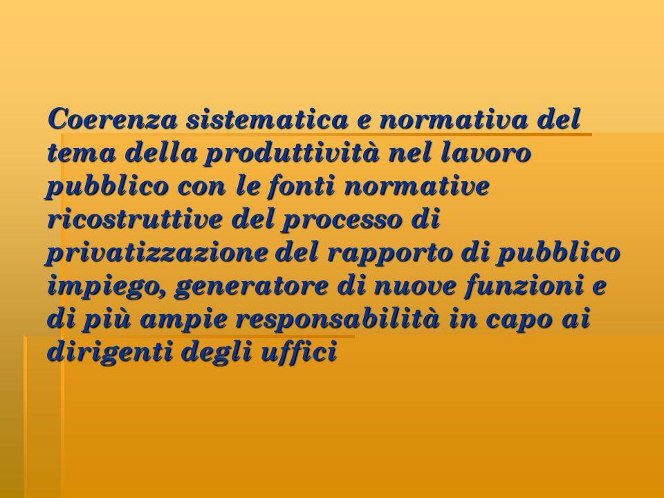 Coerenza sistematica e normativa del tema della produttività nel lavoro pubblico con le fonti normative ricostruttive del processo di privatizzazione