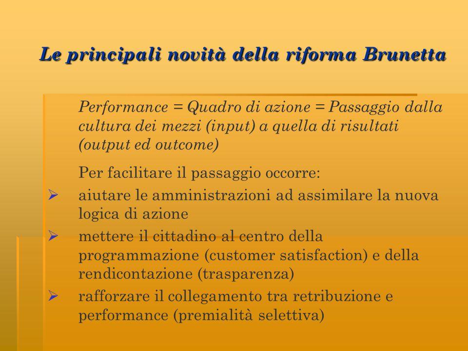Le principali novità della riforma Brunetta Le principali novità della riforma Brunetta Performance = Quadro di azione = Passaggio dalla cultura dei m