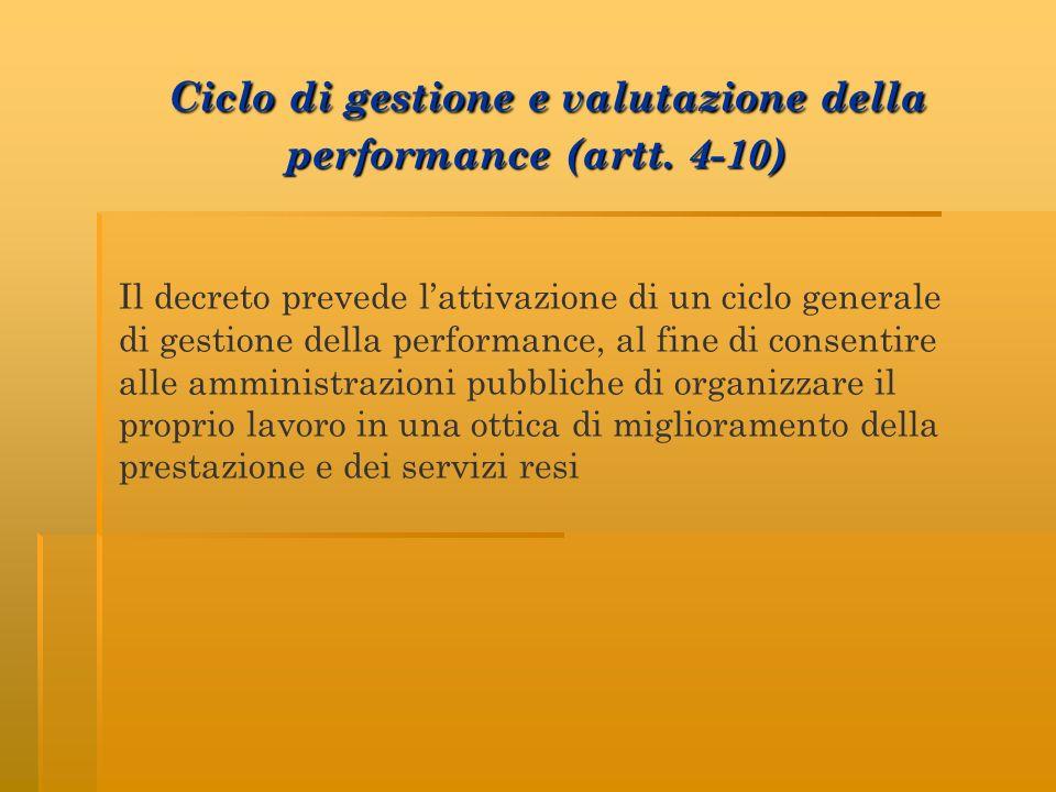 Ciclo di gestione e valutazione della performance (artt. 4-10) Ciclo di gestione e valutazione della performance (artt. 4-10) Il decreto prevede latti