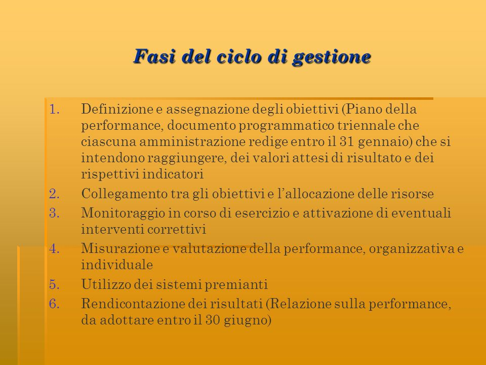 Fasi del ciclo di gestione Fasi del ciclo di gestione 1. 1.Definizione e assegnazione degli obiettivi (Piano della performance, documento programmatic