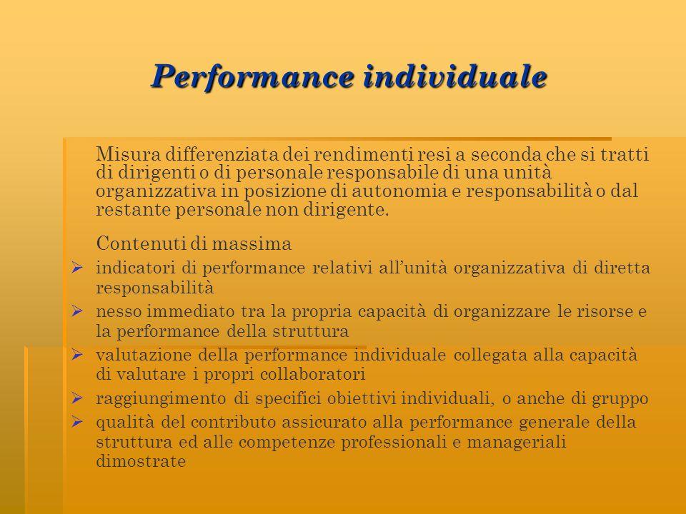 Performance individuale Misura differenziata dei rendimenti resi a seconda che si tratti di dirigenti o di personale responsabile di una unità organizzativa in posizione di autonomia e responsabilità o dal restante personale non dirigente.