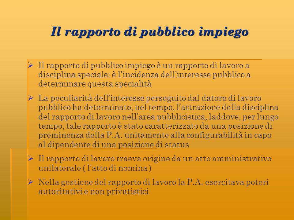 Il rapporto di pubblico impiego Il rapporto di pubblico impiego è un rapporto di lavoro a disciplina speciale: è lincidenza dellinteresse pubblico a d