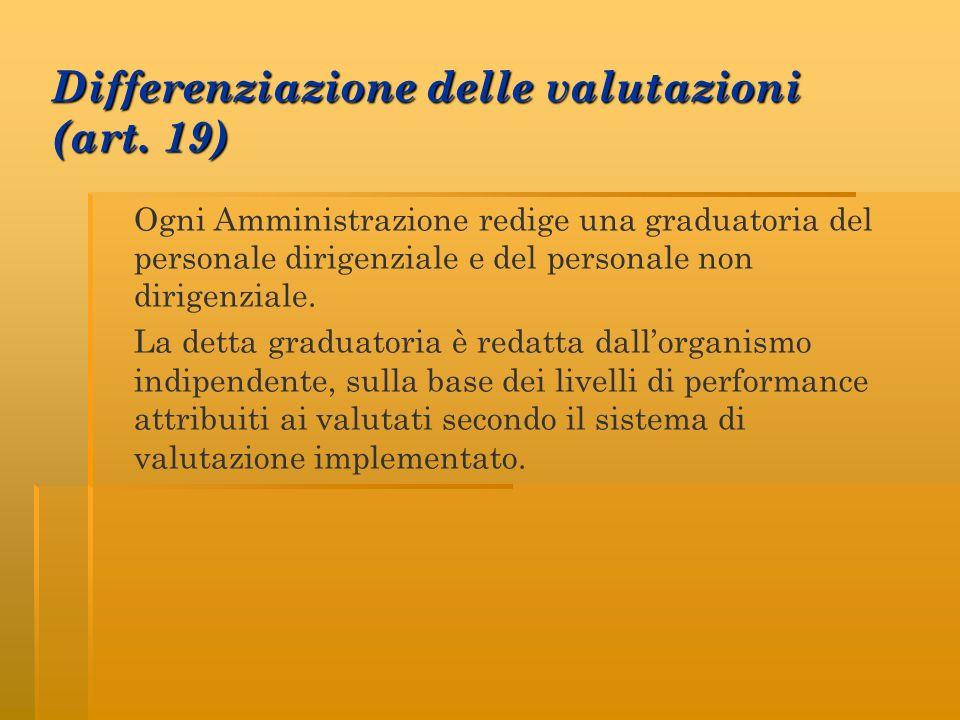 Differenziazione delle valutazioni (art. 19) Ogni Amministrazione redige una graduatoria del personale dirigenziale e del personale non dirigenziale.