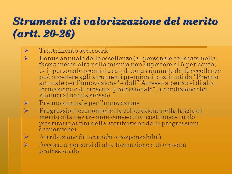 Strumenti di valorizzazione del merito (artt. 20-26) Trattamento accessorio Bonus annuale delle eccellenze (a- personale collocato nella fascia medio