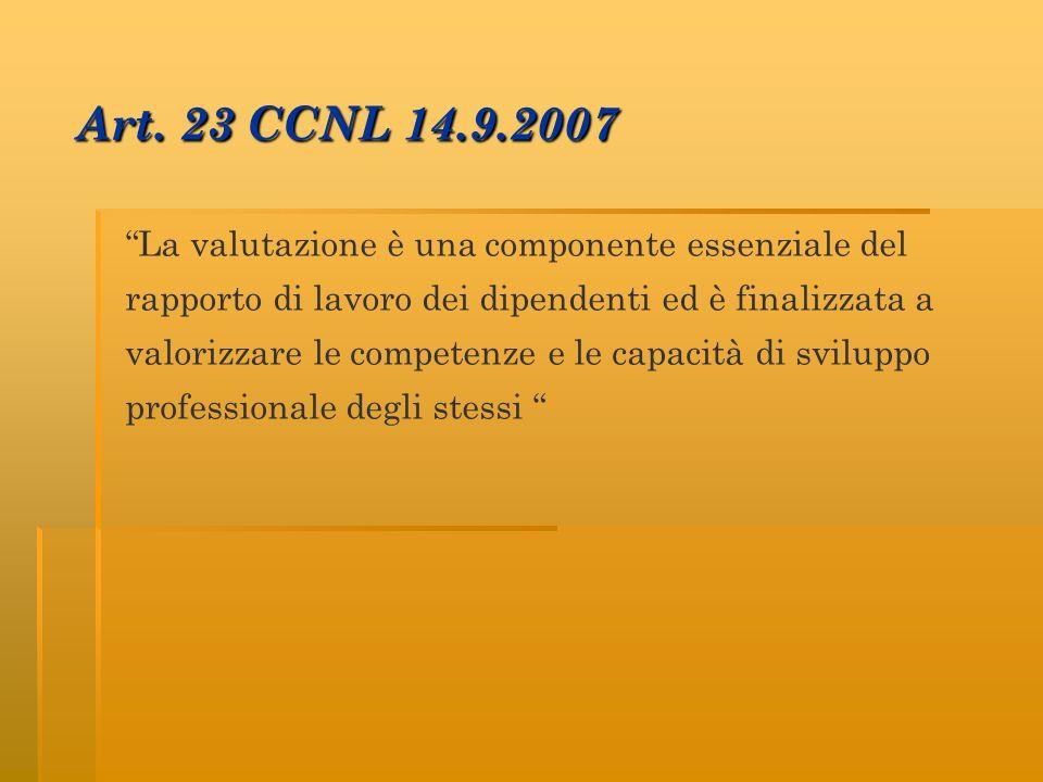 Art. 23 CCNL 14.9.2007 La valutazione è una componente essenziale del rapporto di lavoro dei dipendenti ed è finalizzata a valorizzare le competenze e