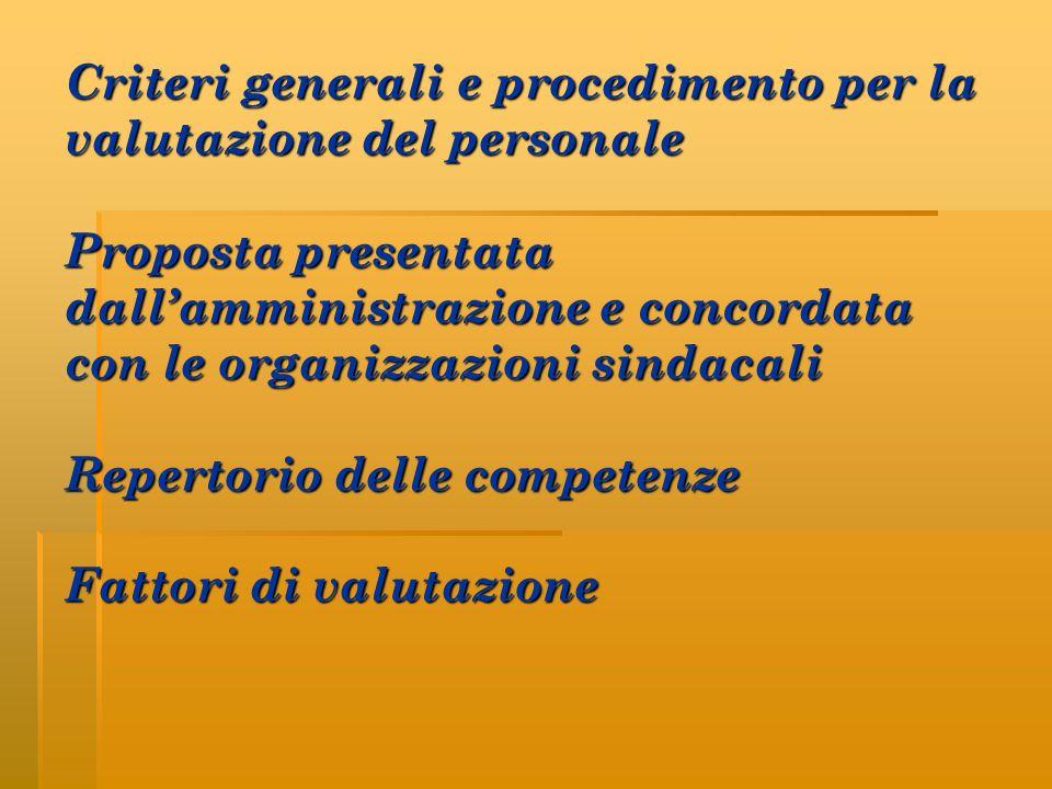 Criteri generali e procedimento per la valutazione del personale Proposta presentata dallamministrazione e concordata con le organizzazioni sindacali Repertorio delle competenze Fattori di valutazione