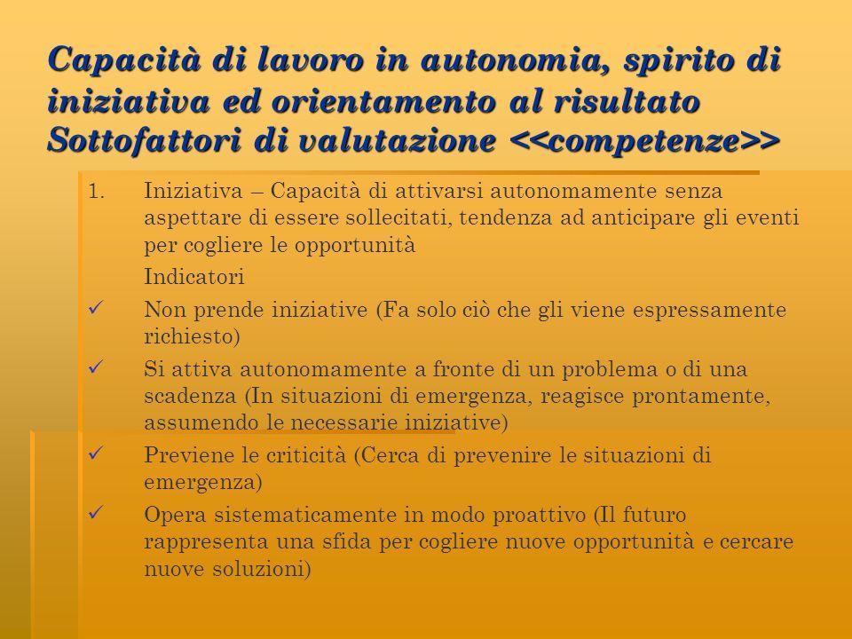 Capacità di lavoro in autonomia, spirito di iniziativa ed orientamento al risultato Sottofattori di valutazione > 1. Iniziativa – Capacità di attivars
