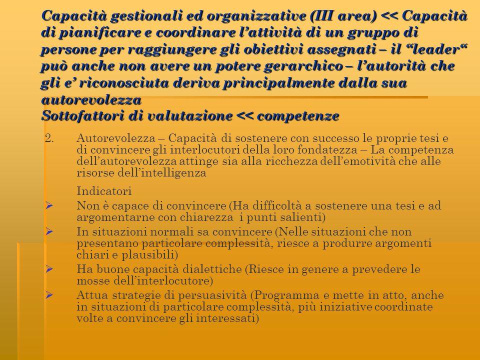 2. Autorevolezza – Capacità di sostenere con successo le proprie tesi e di convincere gli interlocutori della loro fondatezza – La competenza dellauto