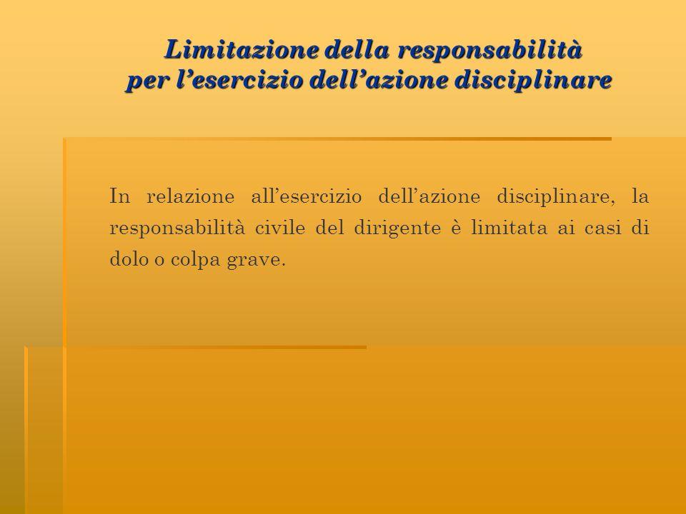 In relazione allesercizio dellazione disciplinare, la responsabilità civile del dirigente è limitata ai casi di dolo o colpa grave.
