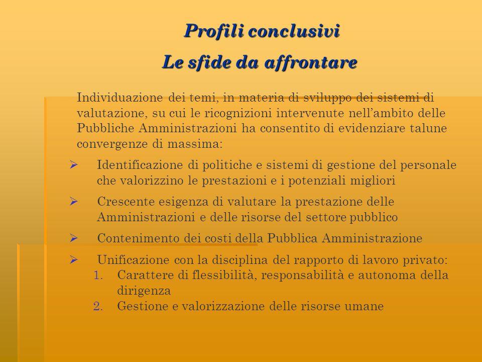 Individuazione dei temi, in materia di sviluppo dei sistemi di valutazione, su cui le ricognizioni intervenute nellambito delle Pubbliche Amministrazi