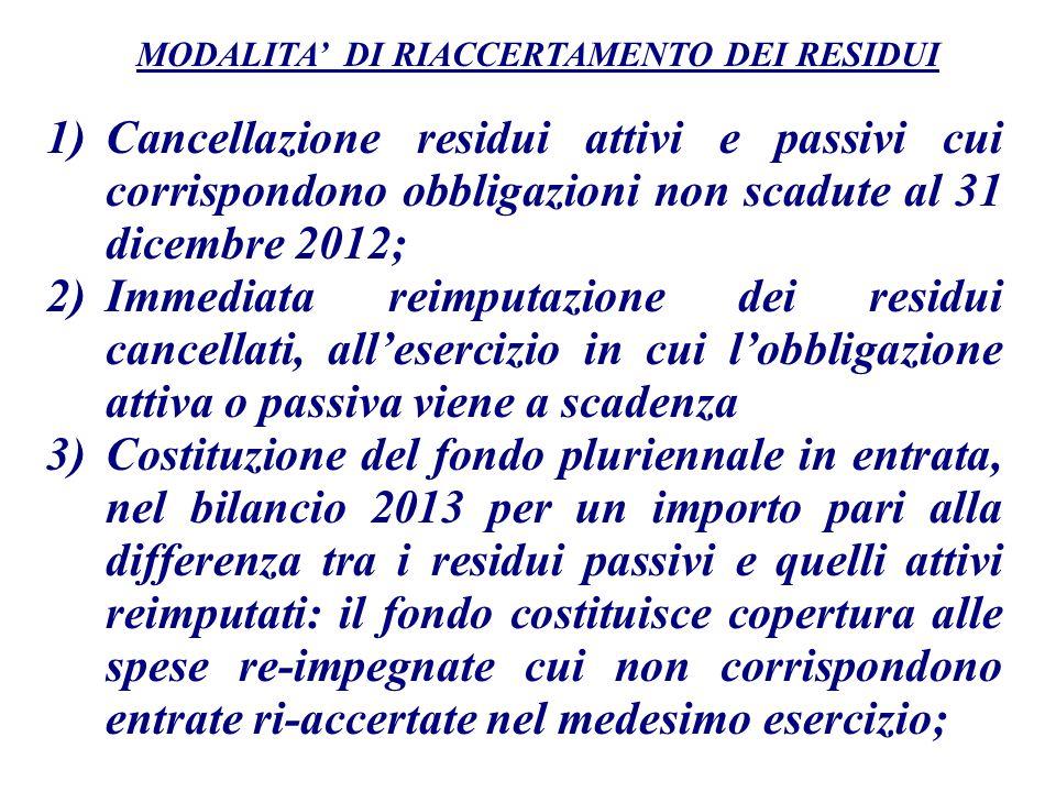 1)Cancellazione residui attivi e passivi cui corrispondono obbligazioni non scadute al 31 dicembre 2012; 2)Immediata reimputazione dei residui cancell