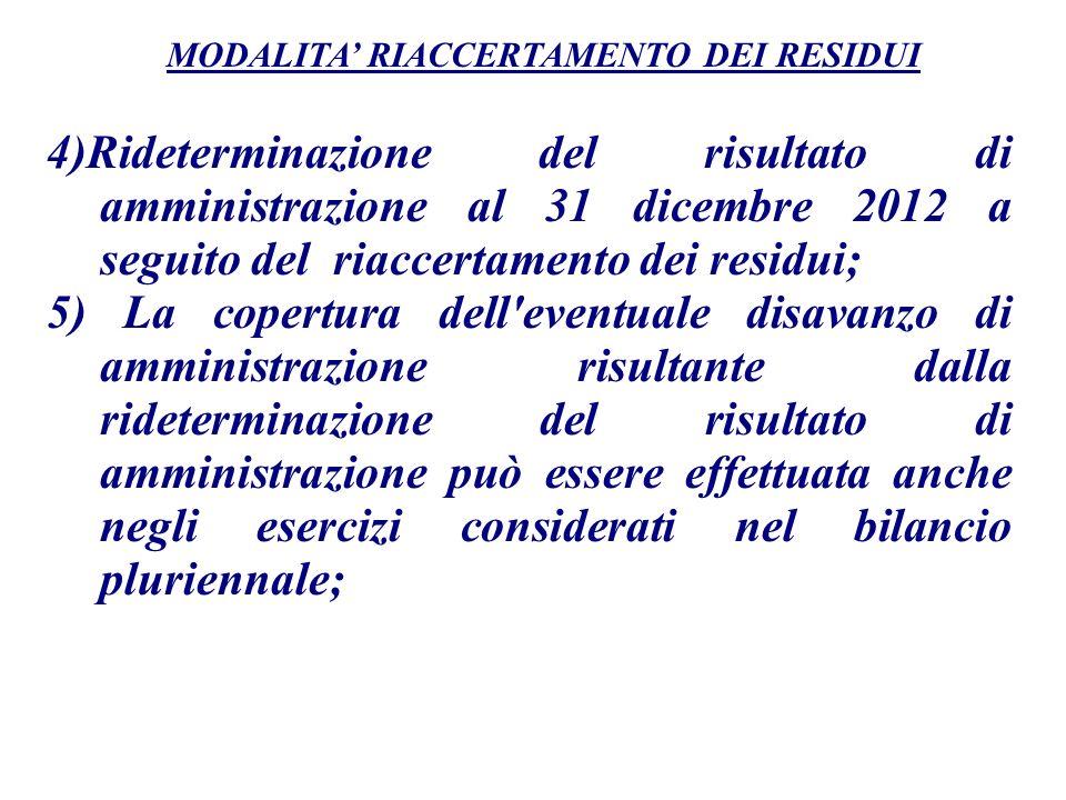 4)Rideterminazione del risultato di amministrazione al 31 dicembre 2012 a seguito del riaccertamento dei residui; 5) La copertura dell'eventuale disav